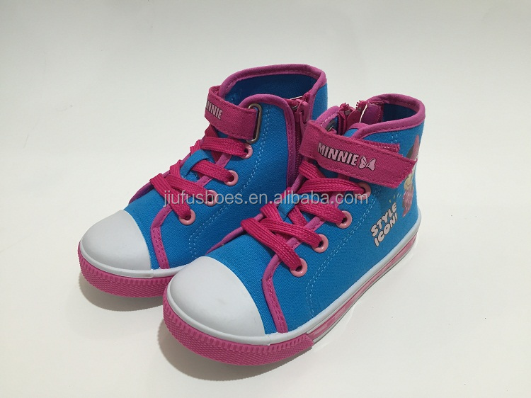 Blue and Fuxia high quality cartoon school canvas shoes for boys