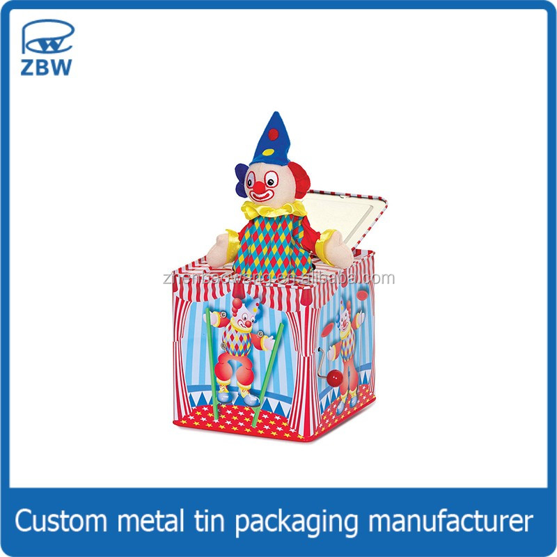 Customized lovely plush metal tin toy tinplate jack in the box