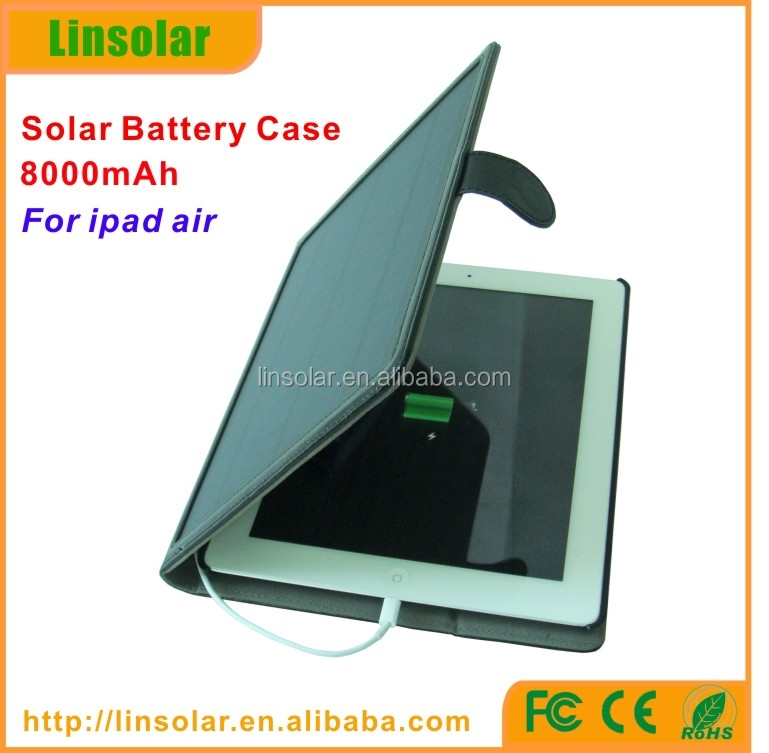 for Ipad Air, 8000mAh Solar Charger case,power bank case cover for ipad air