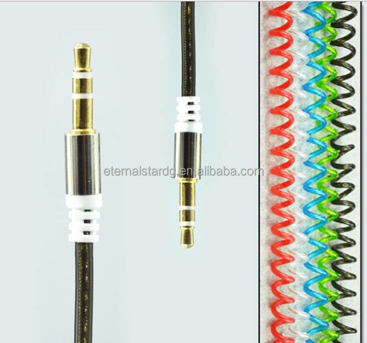 Wholesale Candy Colorful Spring Wire Coiled Audio Cable 3.5mm Male to male