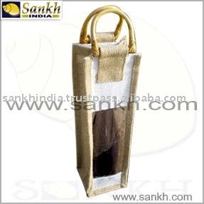 Natural color jute single Wine Bottle Bag with window and cane handle