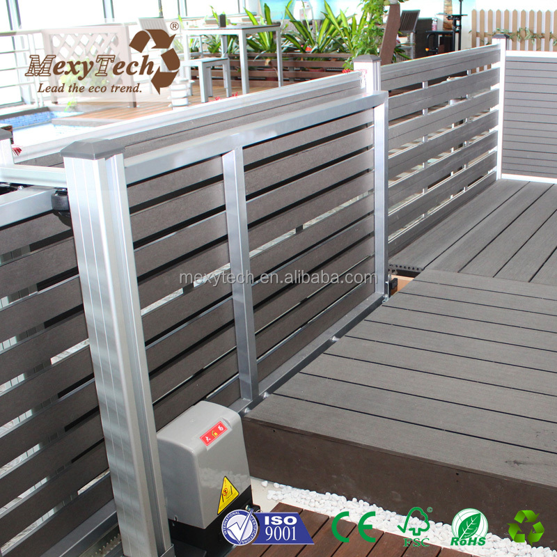 sliding fence door aluminum frame and wpc pamles electronic door for outdoor garden