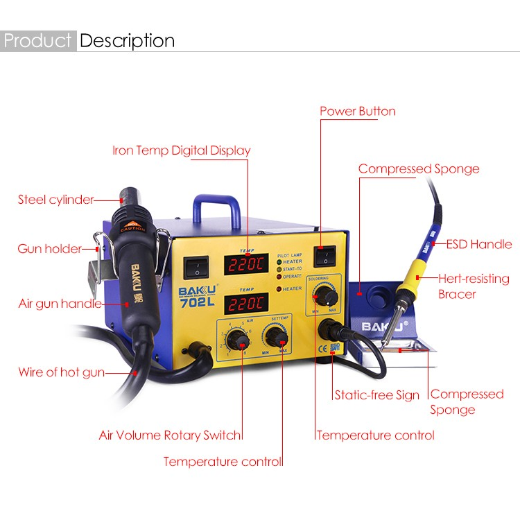 Baku BK-702L 2 in 1 professional BGA Digital display SMD Soldering Station With Hot Air Gun