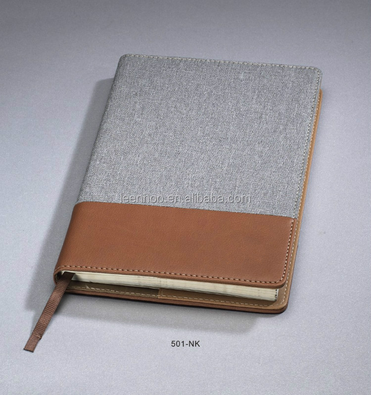 Denim & PU leather Graph paper notebook with pen can fill in the front pen bag
