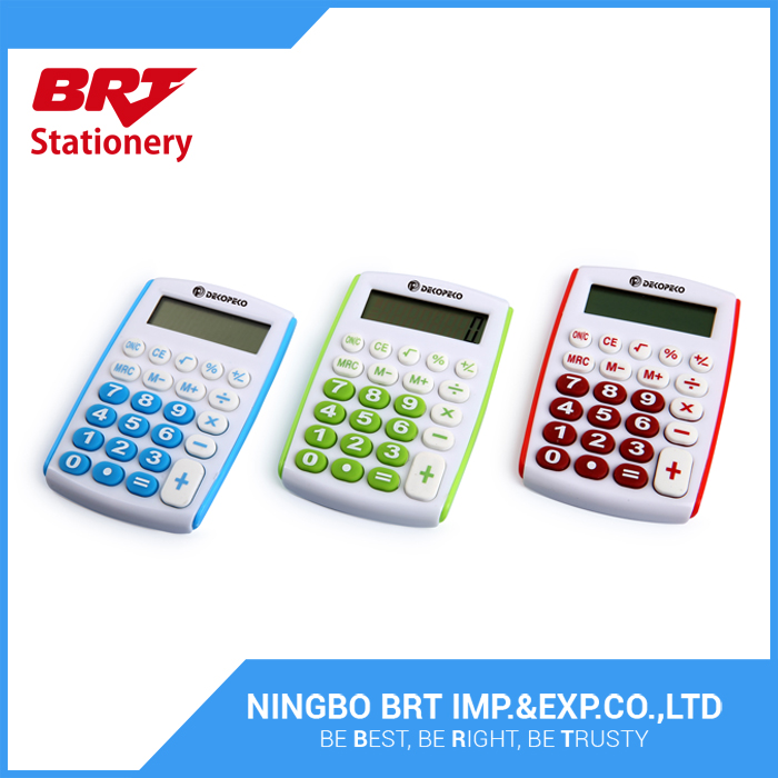 Clear economical hand held calculators