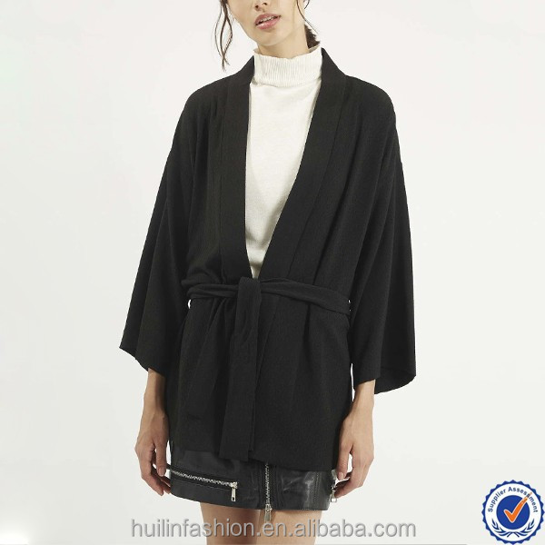 oem clothing manufacturers tall belt kimono jacket for women fashion plus size women clothing