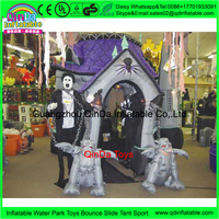 China low price dead tree yard decoration house,inflatable Halloween Bounce House for sale