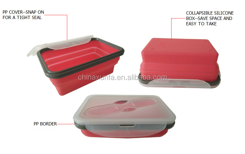 Professional 1000ML rectangle lunch box collapsible silicon material lunch box container folding new lunch box men wholesale