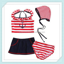 2- 6 Age sailor modelling short sleeves kid swimsuit Girl 4 pcs swimwear +Swimming trunks