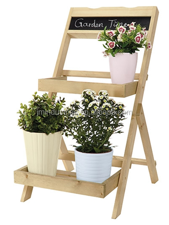 Outdoor wooden 3 tier corner plant stand with advertising blackboard