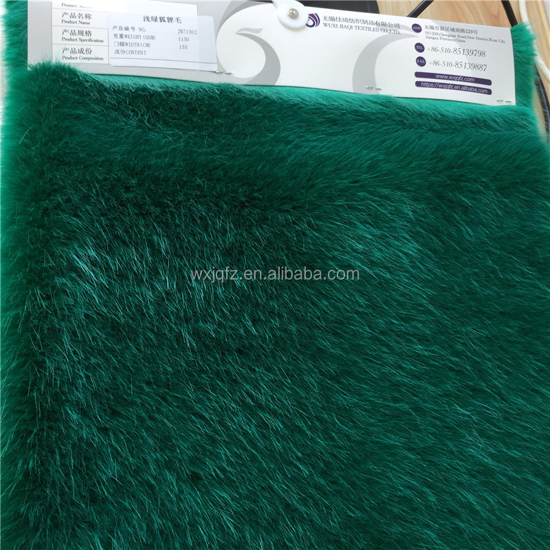 High Quality Green Fox Faux Fur for Women Winter Coat Scarf Fake Fur Fabric