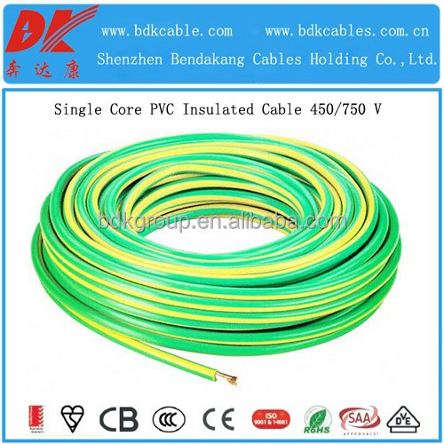 1mm2 pvc cable 1.5mm pvc insulated copper wire 6mm2 single core low voltage grounding cable