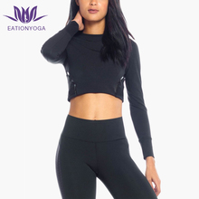 OEM factory wholesale womens long sleeve tee workout cropped t shirt with ribbed cuff polyamide elastane yoga t shirt