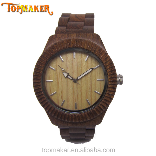 Latest Mens Chocolate Brown Solid Wood Watch