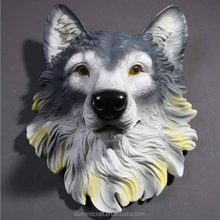 Resin wall animal head mount carved wolf head