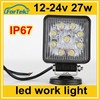 square new 27w car led tuning light led work light 12-24V