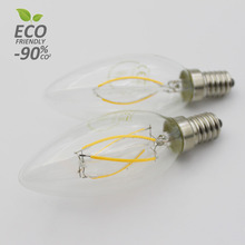 2W 4W E27 E14 220V Clear Frosted Milky Retro Vintage Deco Light Filament Led Candle Bulbs