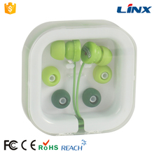Colour earphones with plastic tube case for MP3 players, MP4 players, Tablet PCs