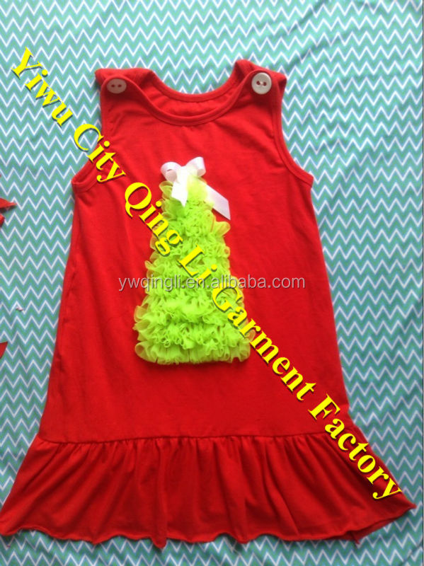 Hot Selling Baby Girl Wholesale Christmas Tree Dress Party Wear Cotton Dress for Girls
