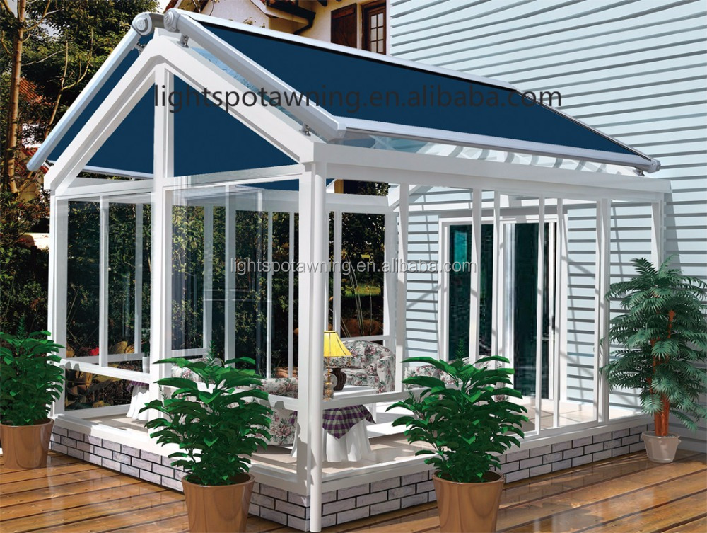 2016 Hot sale outdoor glass roof canopy/shop sunshade