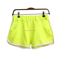 Board shorts women/100% cotton bright color plain sweat shorts/wholesale booty shorts women