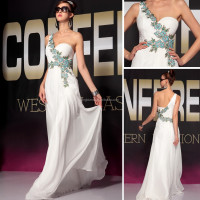 2015 New arrival one shoulder elegant evening dress #OE30697