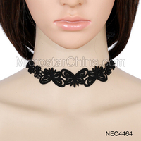FengRise Black Suede Bowknot Choker Necklace