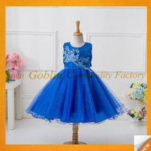 baby frock designs Blue Flower Bodice infant children Dress Little Girls Party Wear Western Dress GBEY-530