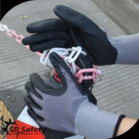 SRSAFETY 13 gauge knitted navy black nylon liner coated black latex on palm,crinkle finish/latex coated gloves/latex work gloves