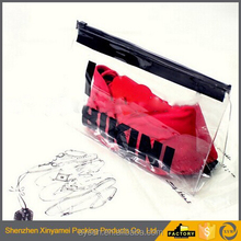custom bikini swimwear swimsuit reusable pvc ziplock pouch/waterproof pvc slider ziplock pouch/slider zip lock puller bag