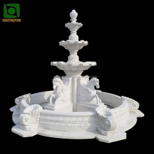3 Tiers Garden Stone Water Fountain with Horse