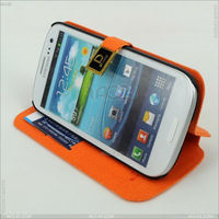 Standing PU Leather Case with Clip funny case for samsung galaxy s3 P-SAMI9300CASE025
