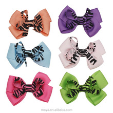 2016 New design fashion print grosgrain ribbon baby girl hair bows with clips wholesale hair accessories