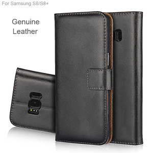 GENUINE Leather wallet case for samsung galaxy s8, high quality business S8 real leather flip stand case