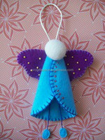2016 new hot sales handmade fabric craft wholesale custom tree hanging crochet decor gift unique felt angel Christmas ornaments