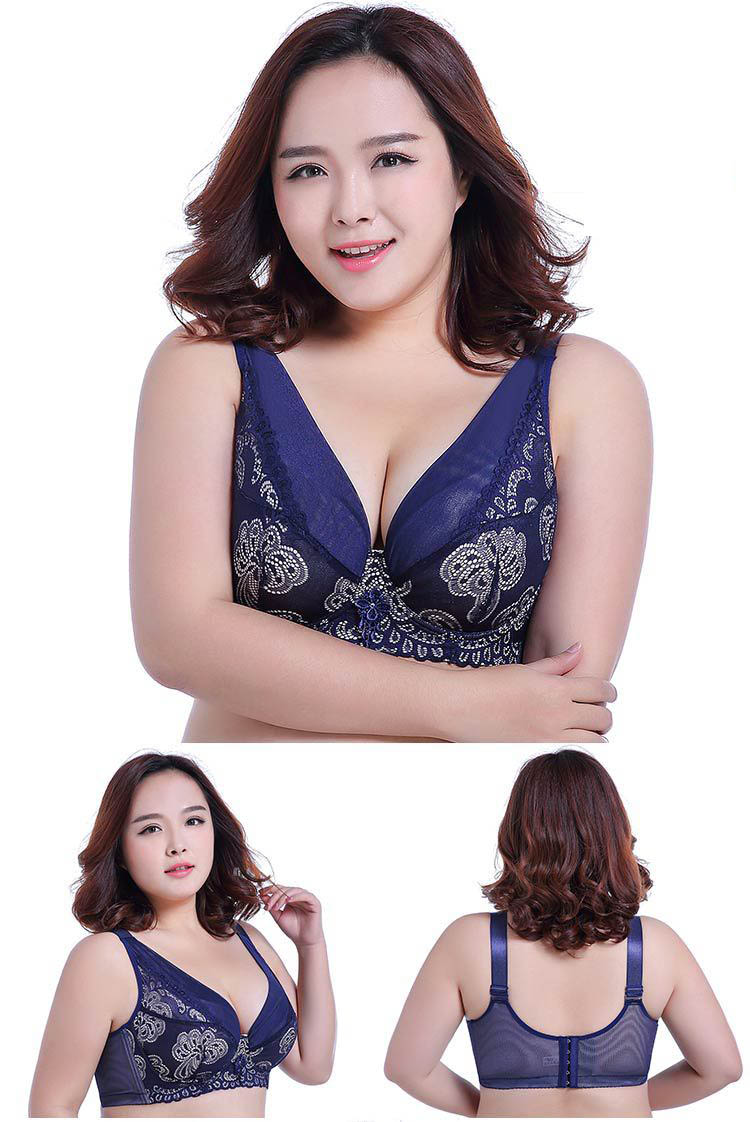 Ultra-thin big plus size bra large D E F cup fat charming attractive sexy lace no sponge ladies mature lady sexy bra underwear