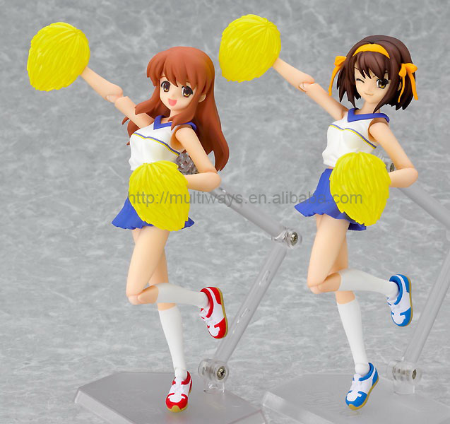 bendable school girl anime figure,Nude Cartoon Girl Action Figures, Non-phthalate PVC Cheering Squad girl action figures