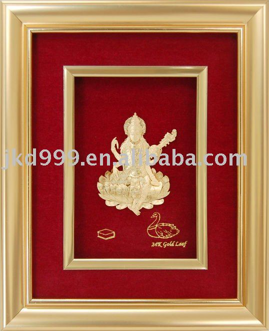 Saraswati - 24k gold foil india god