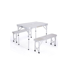 New Portable Aluminum Folding Picnic Table Camping Set With 2 Folding Bench Seats