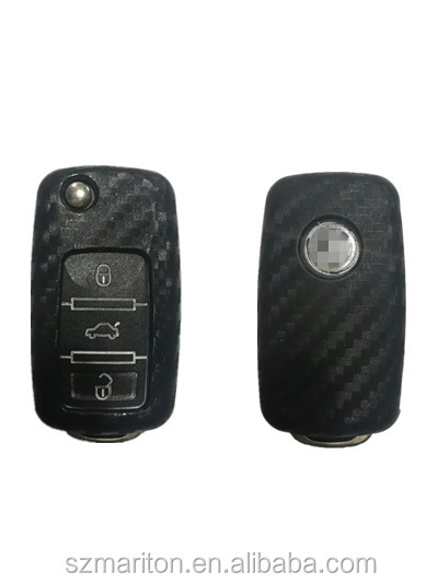 Black 4D carbon fiber car silicone key case for Volkswagen Passat Polo Sagitar with retail package