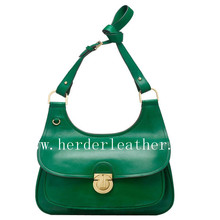 Hot selling women leather bag green leather bag leather drawstring bag