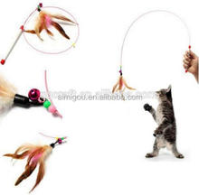 2016 Various Cat Wire Dangler Wand Toys with Beads Bells and Feather, Interactive cat teaser, charmer dancer pole toy