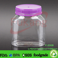200ml PET transparent color plastic honey jar,plastic colorful candy container with waterproof plastic screw cap