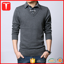 New design korean fashion sweater pullover mens fake shirts collar sweater