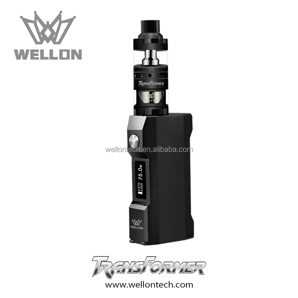 2017 new arrivals cool color Wellon Transformer Box Mod ecigs vape kit in black