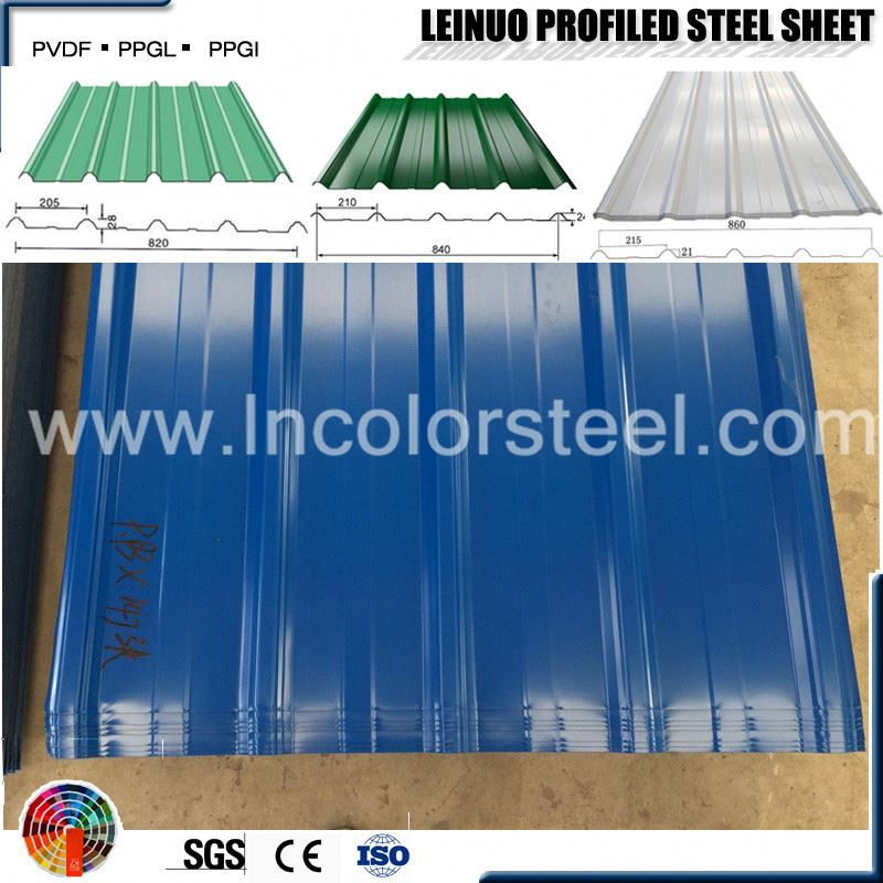 high strength roofing sheets width 820mm brick red corrugated steel sheet