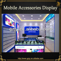 high grade MDF mobile phone store decoration with display cabinet and retail counter