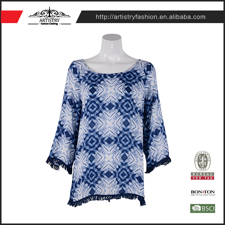 Fashion cutting round neckline polyester ladies casual tops print blouses for work
