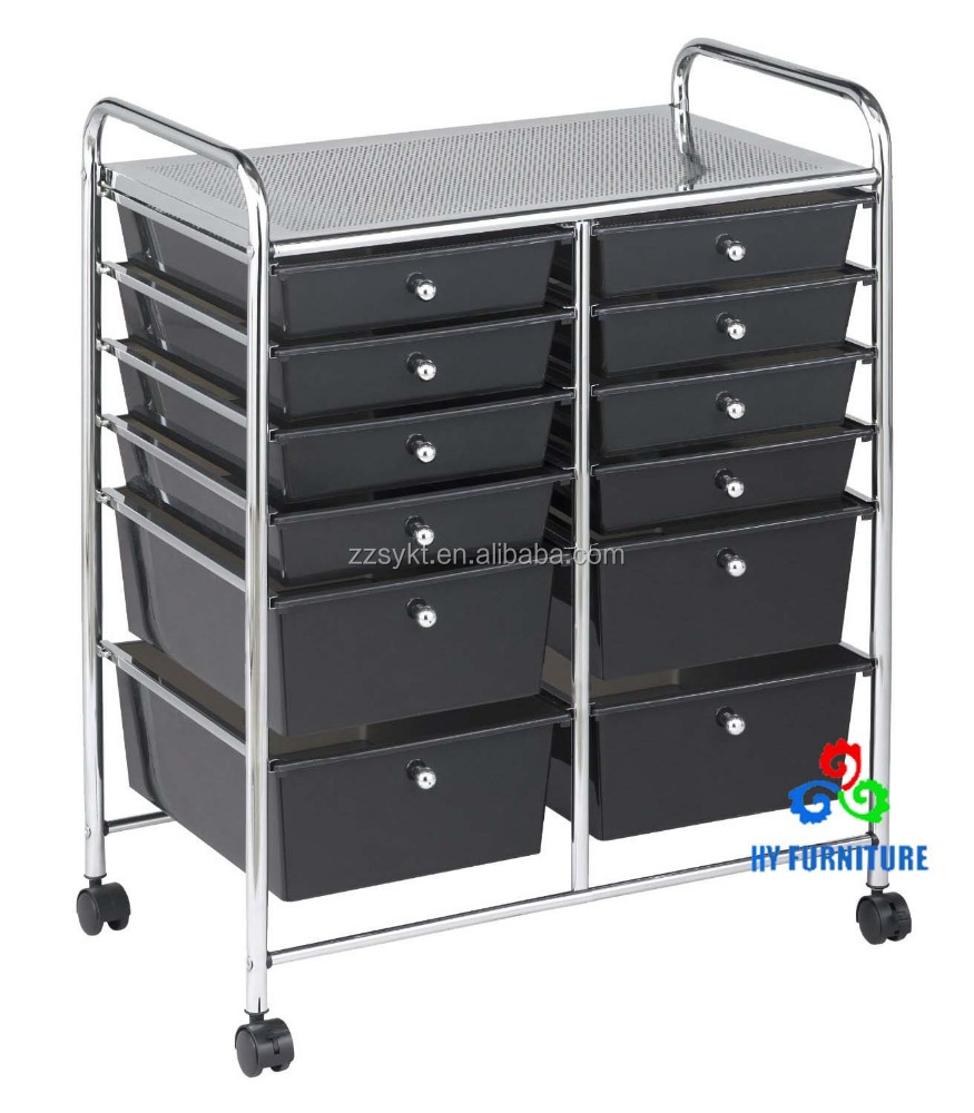 Double wide steel plate rainbow color plastic drawers storage trolley cart