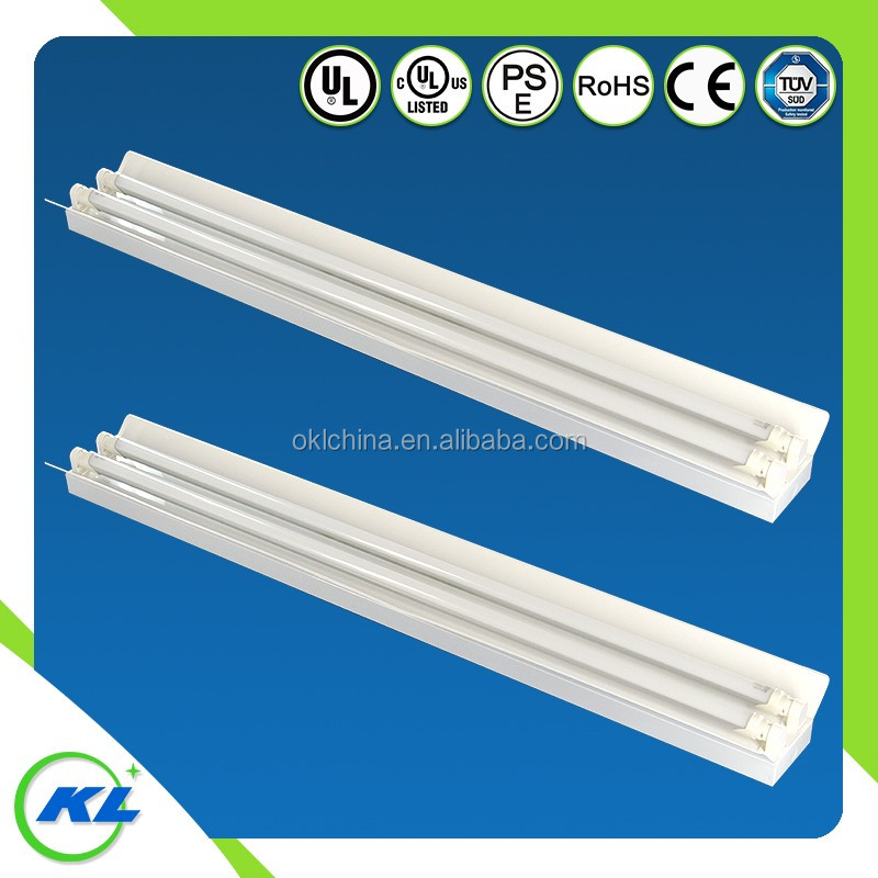 UL CE RoHS approved T8 double/single flourescent shop light fitting and fixture